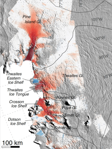 Glaciers in Antarctica's Amundsen Sea, including Thwaites glacier, which scientists have identified as the wine bottle's cork. Click to embiggen