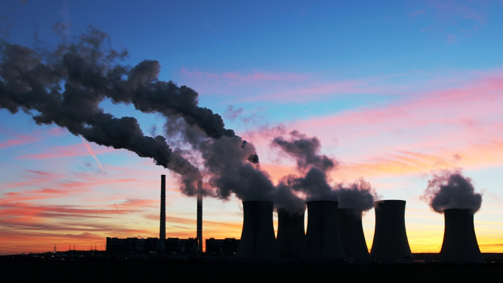 coal plant in a sunset