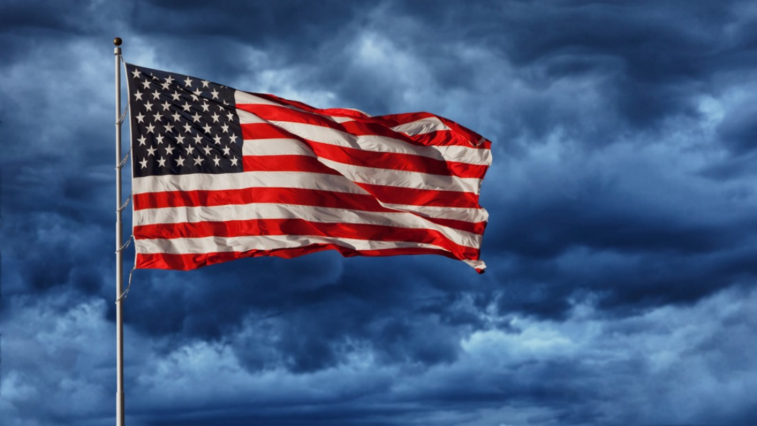 U.S. flag in a storm