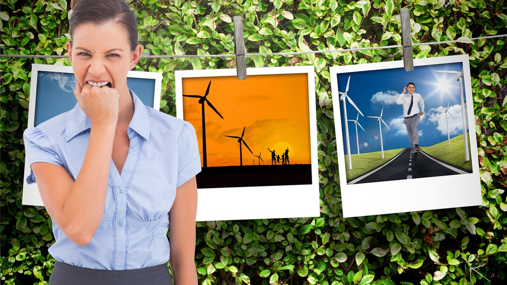 frustrated woman and wind turbines