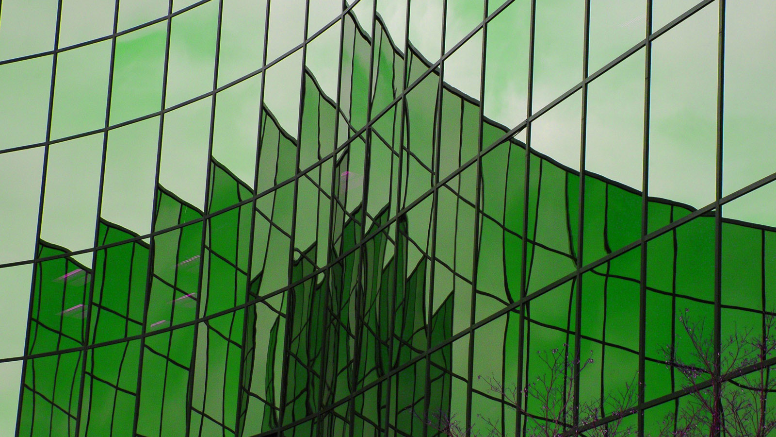 a green-colored building