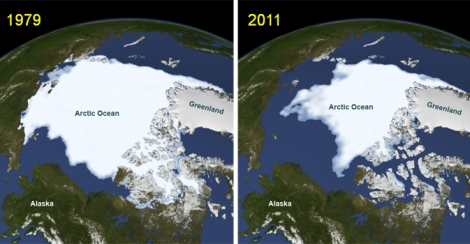Arctic sea ice minimum in September of 1979  and in September of 2011.