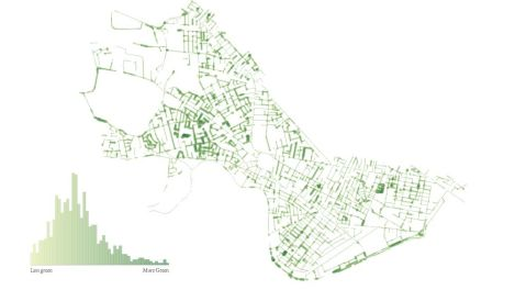 A map showing greenery on the streets of Cambridge, Mass.
