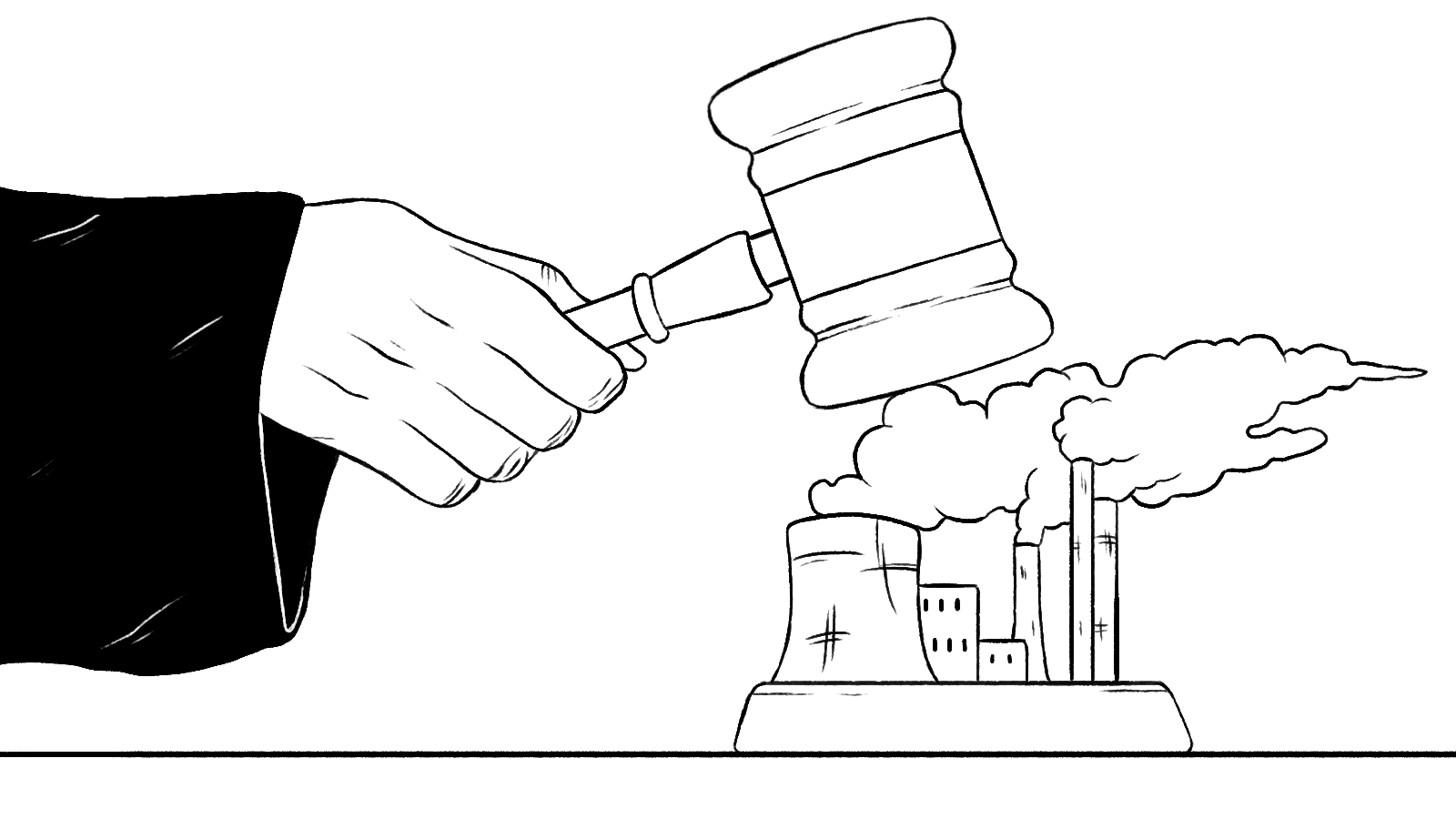 gavel coming down on power plant