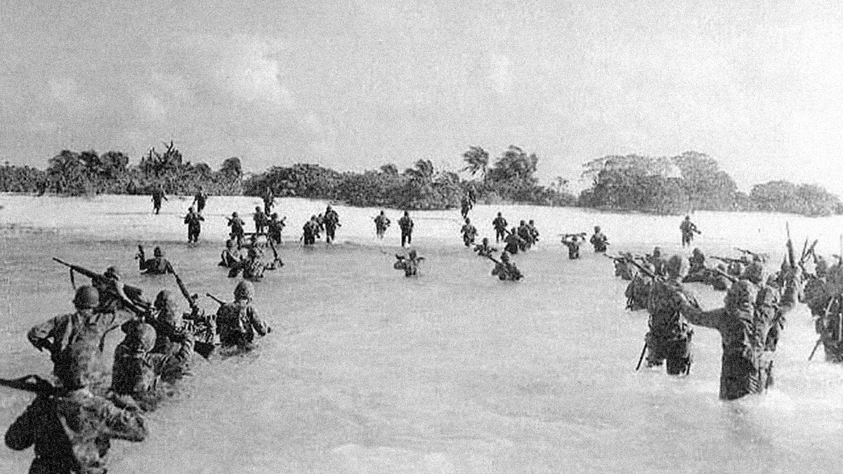 US Marines landing on Eniwetok, Marshall Islands, 17 Feb 1944