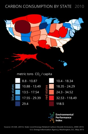 map of carbon consumption by state