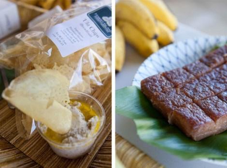 Breadfruit chips, taro hummus, and kulolo, a traditional taro pudding