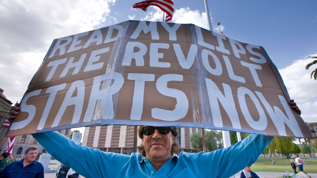 """sign: """"Read my lips: The revolt starts now"""""""