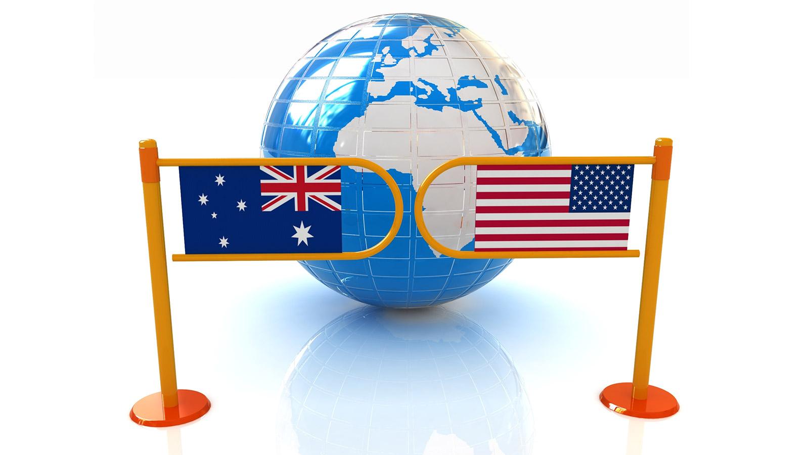 U.S. and Australia flags and globe