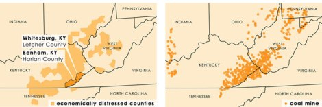 YES! Magazine graphics by Jim McGowan and Natalie Lubsen. Data from the Appalachian Regional Commission and the U.S. Energy Information Administration.