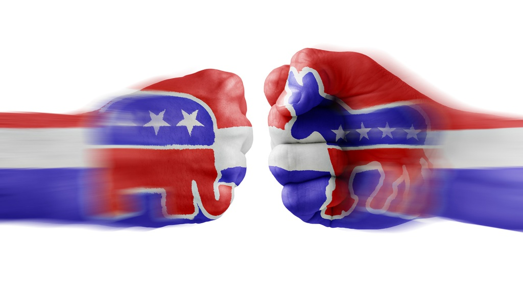 Republican and Democratic dueling fists