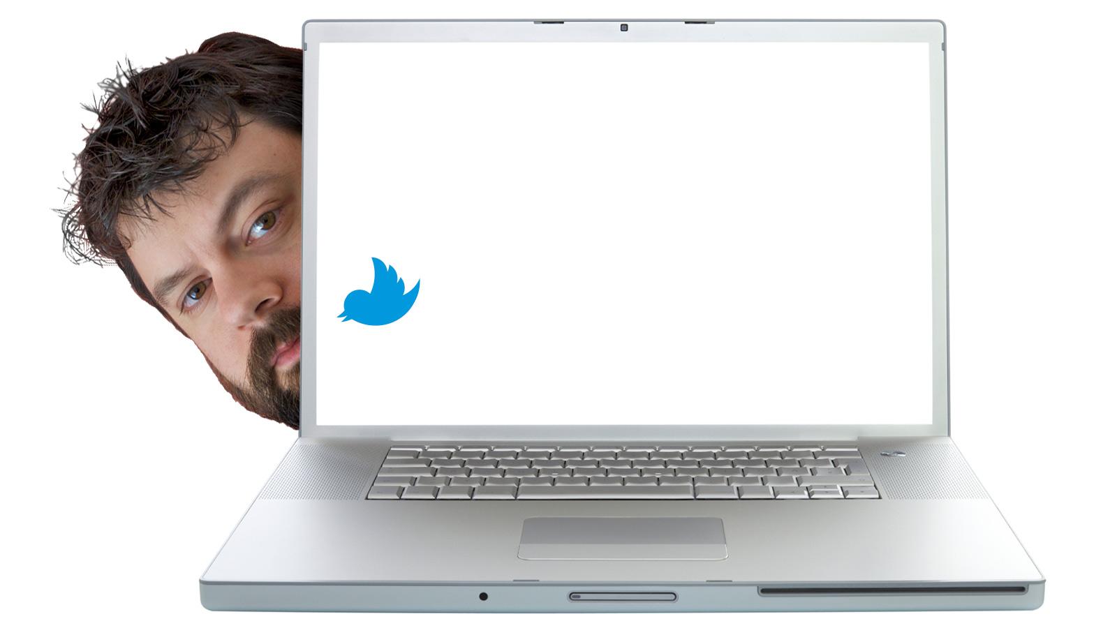 David Roberts and a laptop