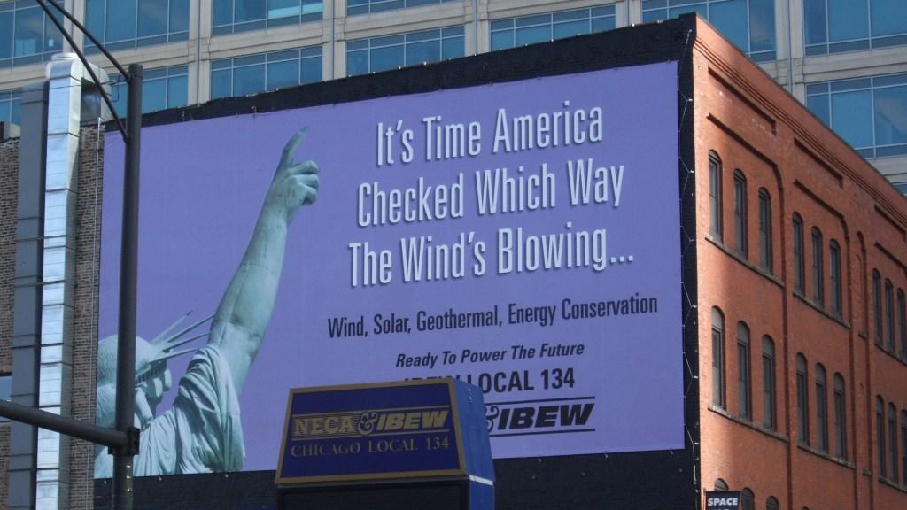 IBEW sign promoting renewables