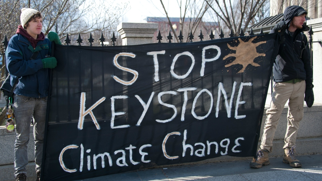 """""""Stop Keystone Climate Change"""" sign"""
