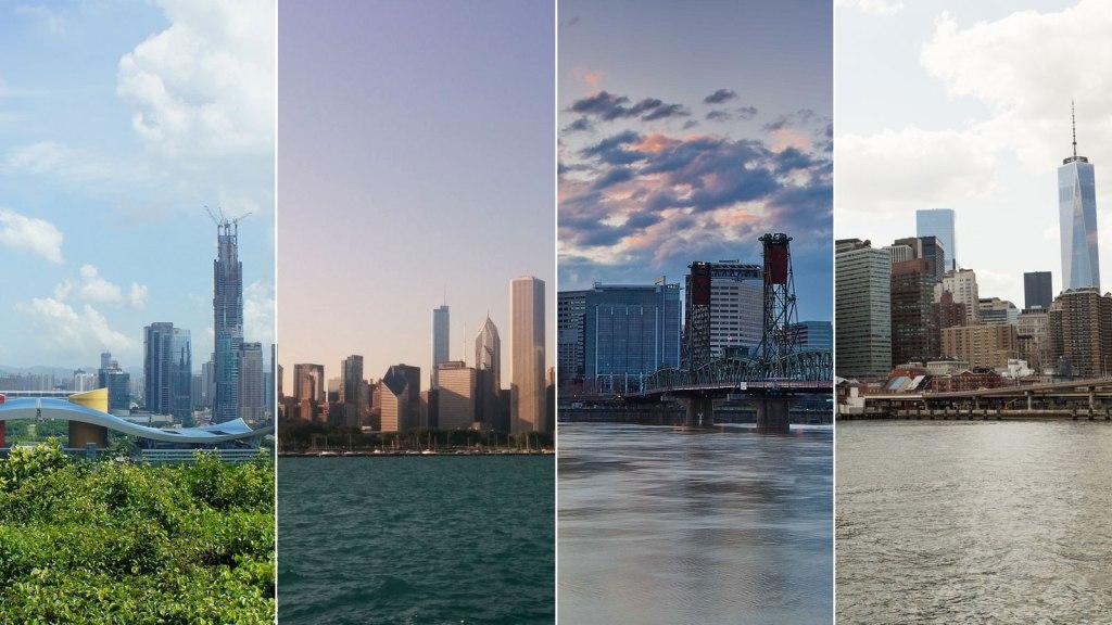 Shenzhen, Chicago, Portland, & NYC skylines