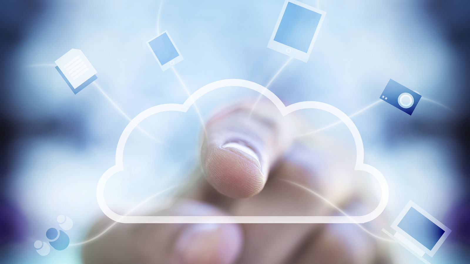 pointing finger and computer cloud