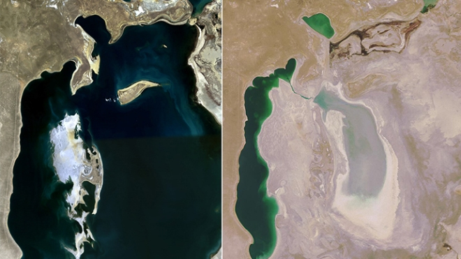 The Aral Sea in 1989 (left) and now (right).