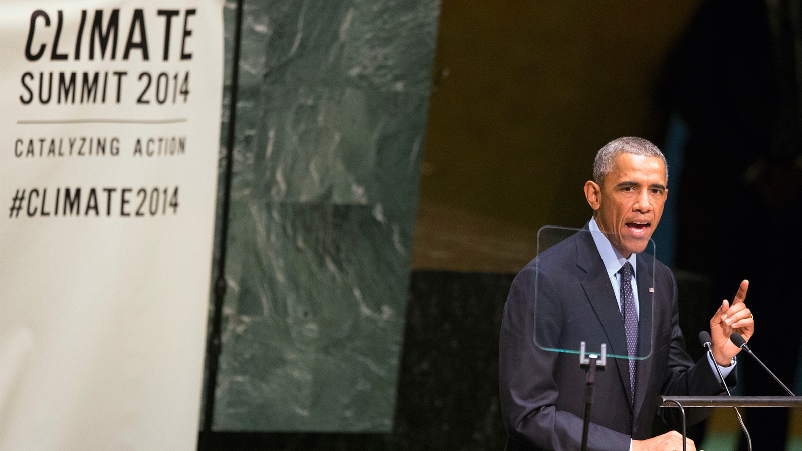 U.S. President Barack Obama speaks during the Climate Summit at the U.N. headquarters in New York September 23, 2014.