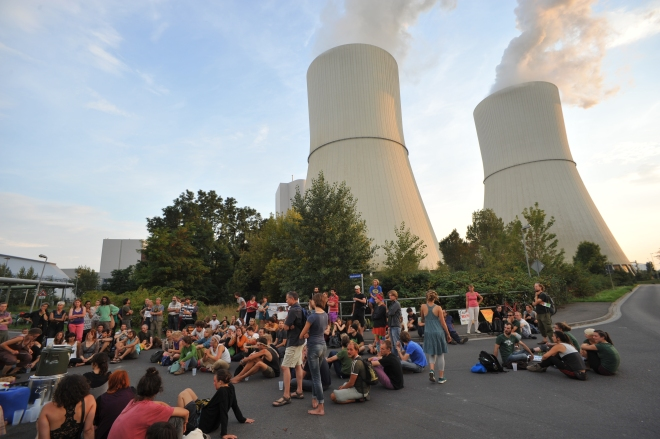 A demonstration and picnic at the local coal-fired power plant.