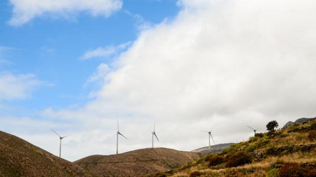 Renewable Energy Wind Power Windmill Turbines in El Hierro Island