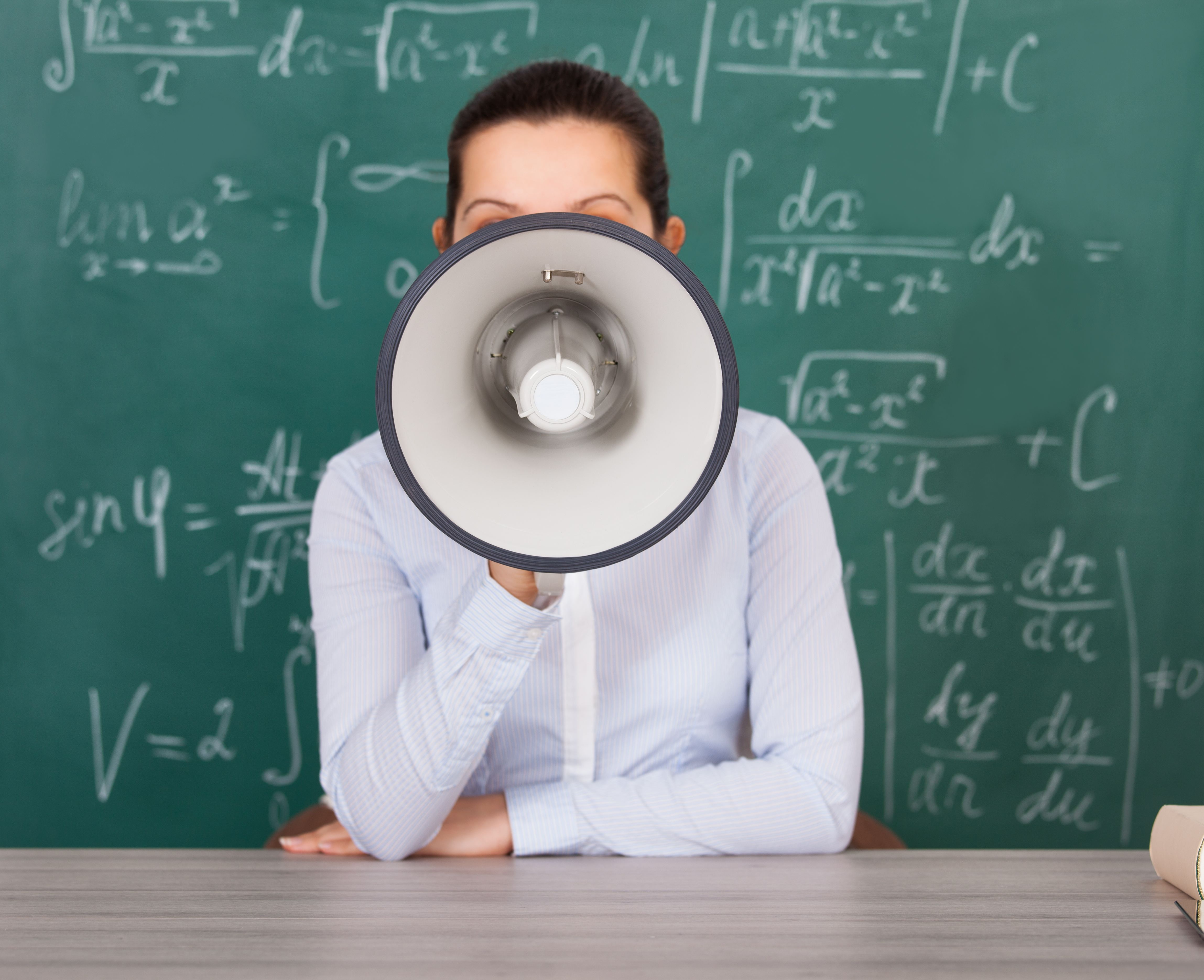 professor megaphone blackboard