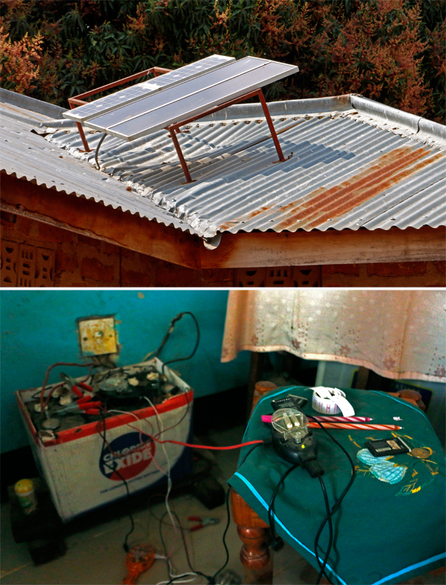 Top: Rooftop solar panels on Ruinda Njaba's house. Bottom: A power inverter and battery that Njaba uses to charge his neighbors' phones.