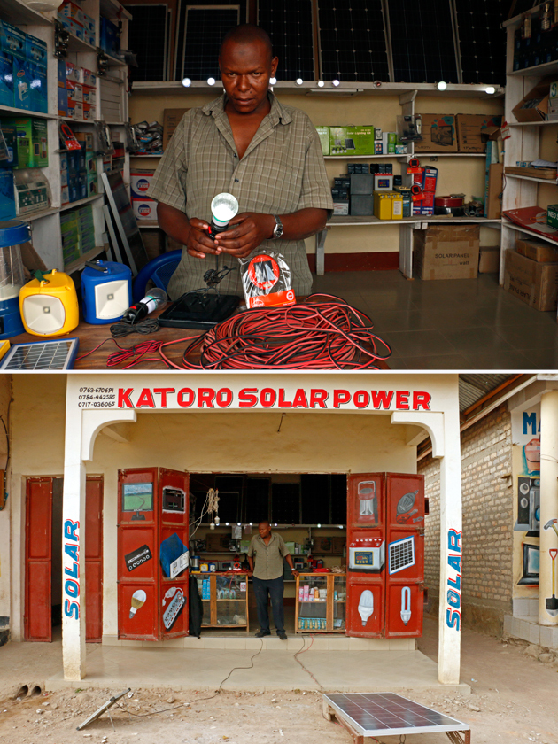Solar dealer Edward Buta says business is booming in the Tanzanian town of Katoro.