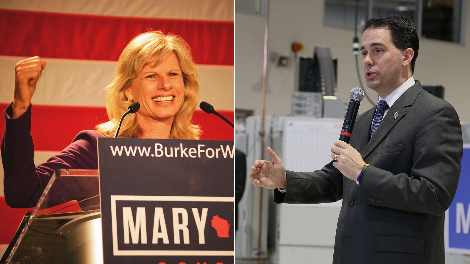 Mary Burke and Scott Walker.