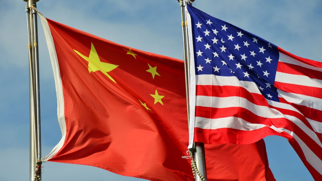 Chinese and American flags