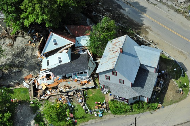 A destroyed house in Rochester, Vt.