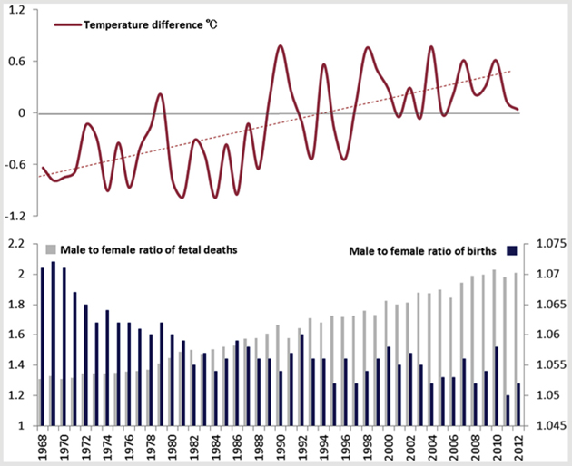 "This chart shows yearly mean temperature differences in Celsius compared to the male-female ratio of ""spontaneous fetal deaths"" (after 12 weeks of pregnancy); and the male-female ratio of newborns from 1968 to 2012 in Japan."