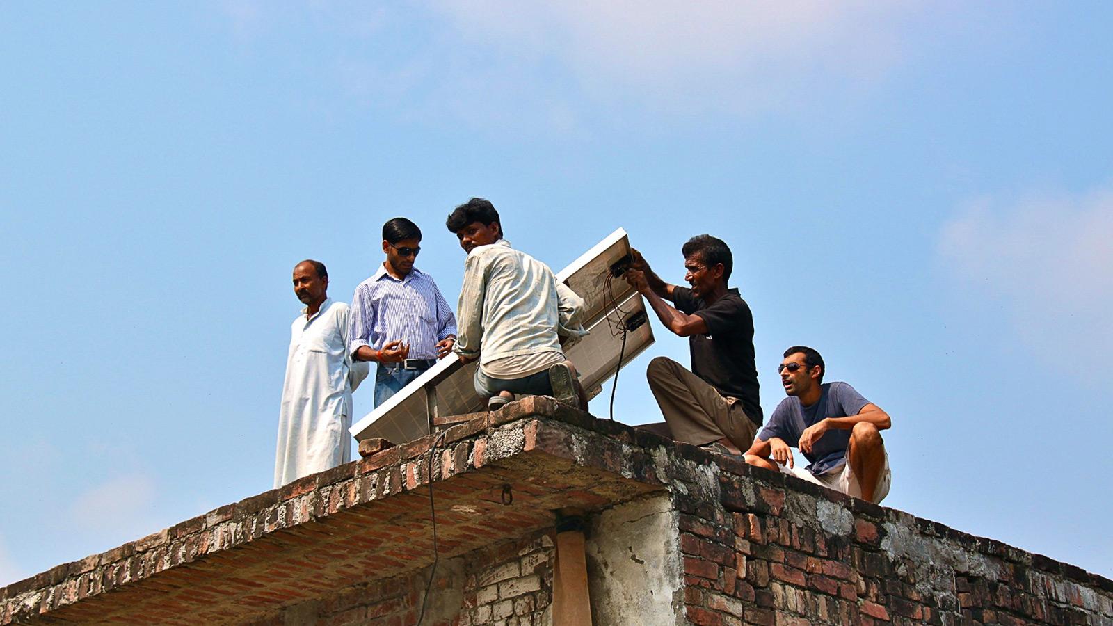 Solar panels in rural India