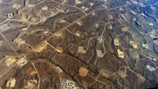 Aerial view of fracking
