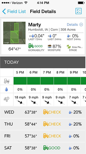 A screenshot of the Climate Basic app from my iPhone in October shows conditions on my family's farm in Iowa.