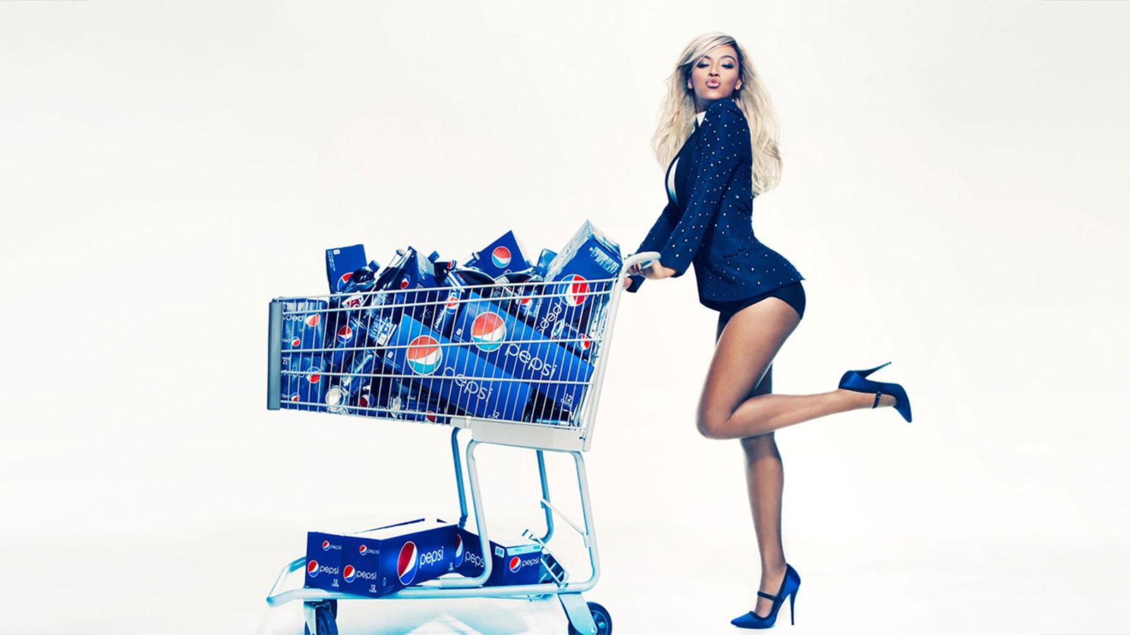 Beyonce & a shopping cart full of Pepsi