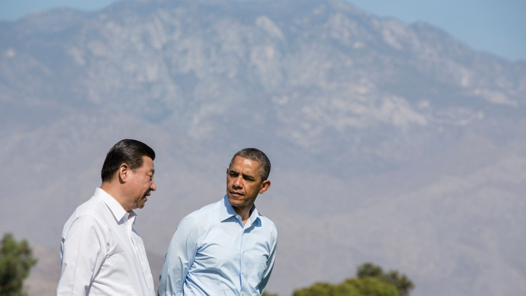 President Barack Obama and President Xi Jinping of the People's Republic of China walk on the grounds of the Annenberg Retreat at Sunnylands in Rancho Mirage, Calif.