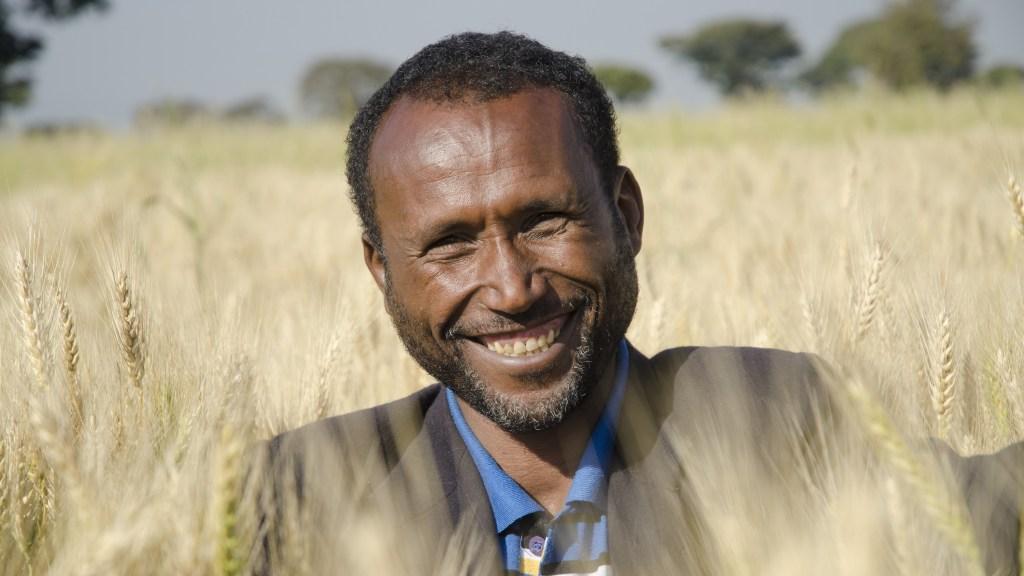Dadie Buta, 38, in his fields in Karsa Ilela village, Arsi Negele, in the West Arsi zone in Ethiopia.