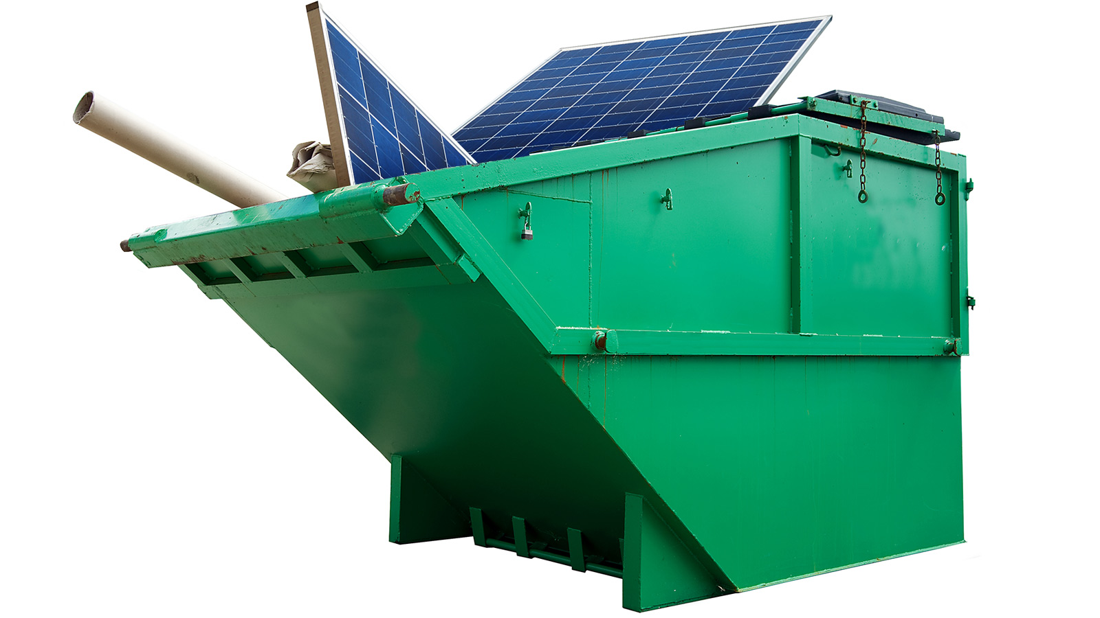 Solar panels in dumpster