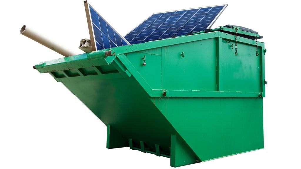 Solar panels in dumpster