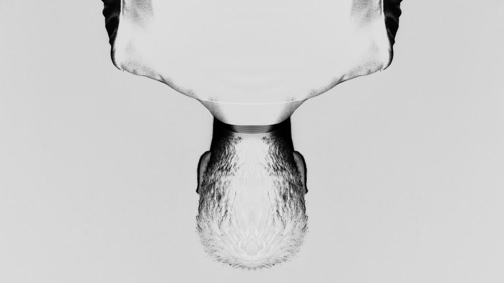 upside-down man with inverted colors