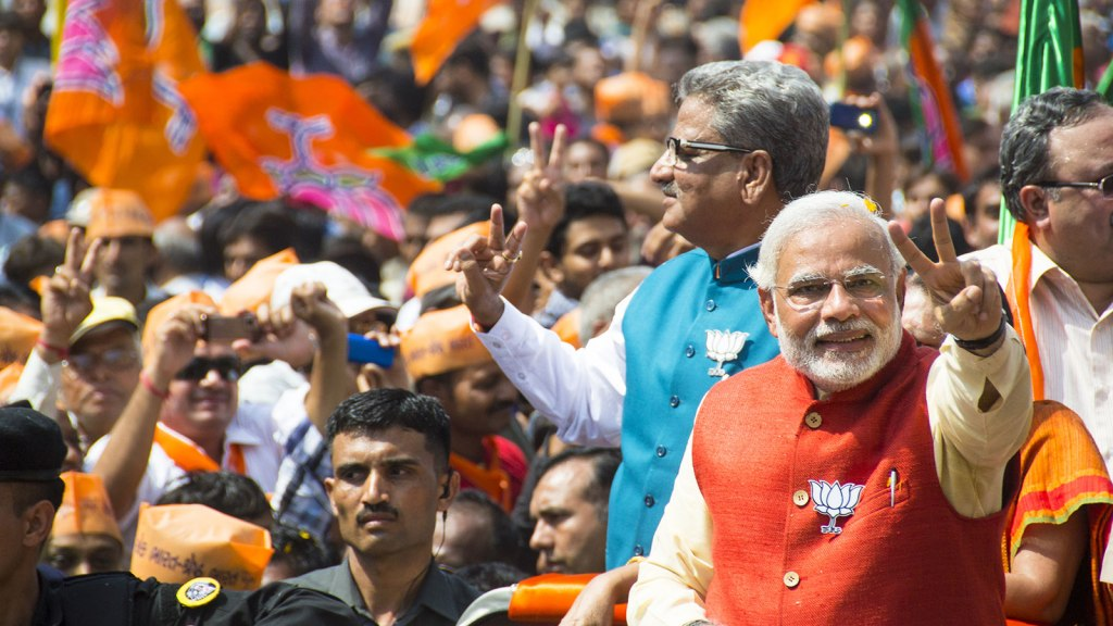 Narendra Modi and crowd