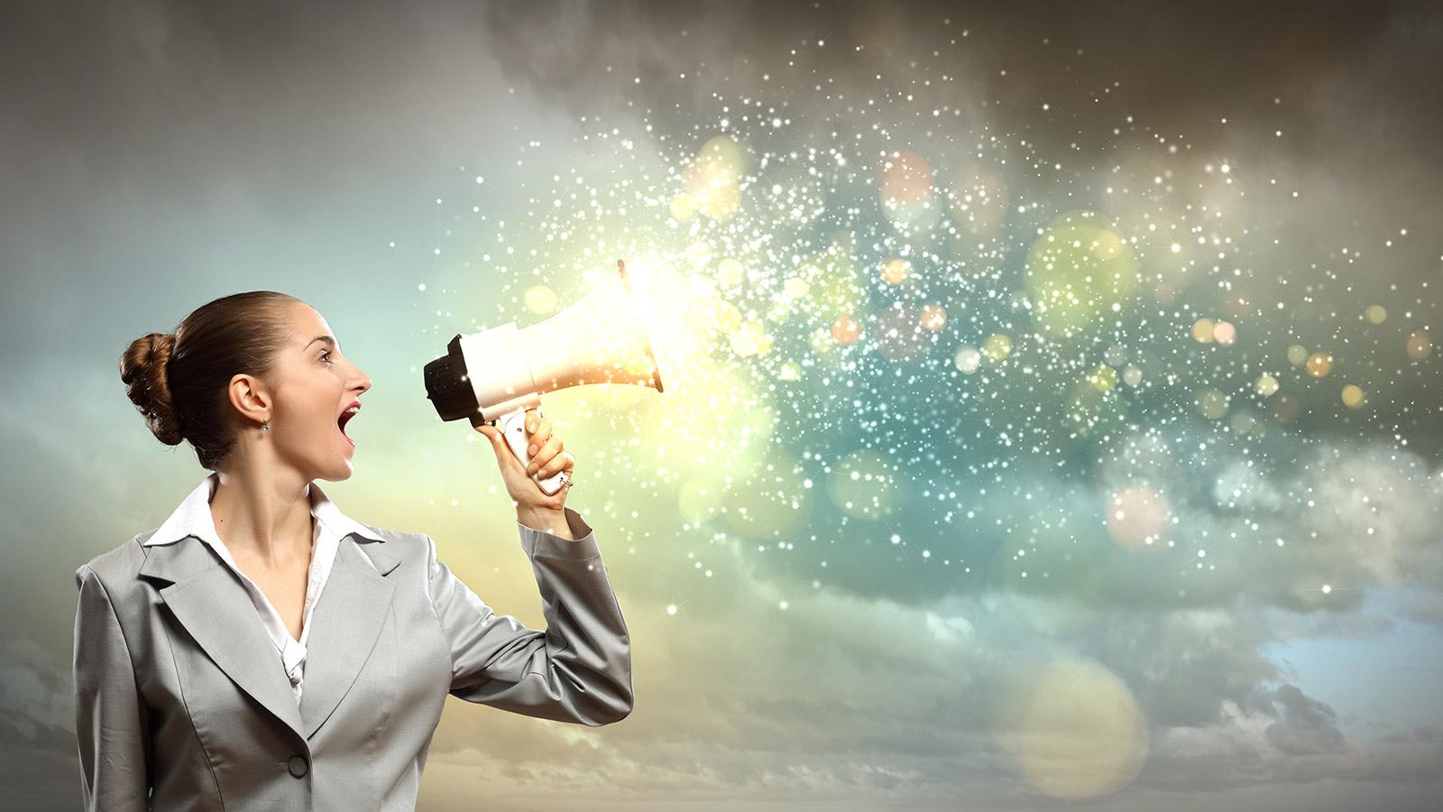 Woman and megaphone
