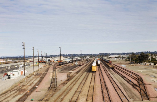 Train cars are parked at the Kinder Morgan rail facility in Richmond, CA. The facility is currently permitted to offload Bakken crude from unit trains.