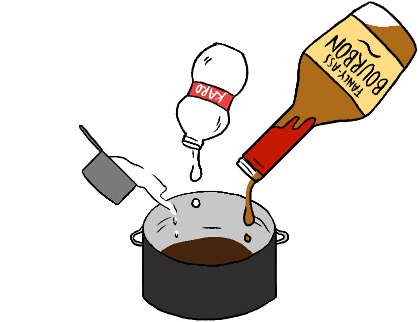Stir sugar and corn syrup into the chocolate. Once combined, add the bourbon.