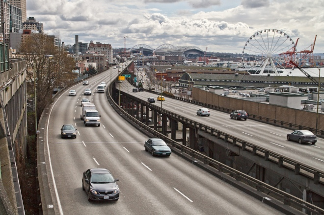 The State Route 99 Alaskan Way Viaduct is a double-deck highway along Seattle's downtown waterfront.