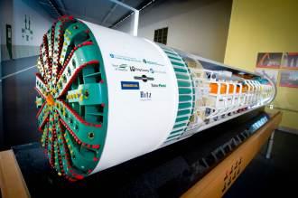 A 10-foot-long replica of the SR 99 tunnel boring machine