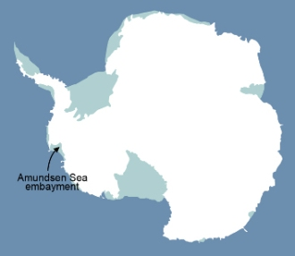 The location of the Amundsen Sea embayment, where the studies were done.