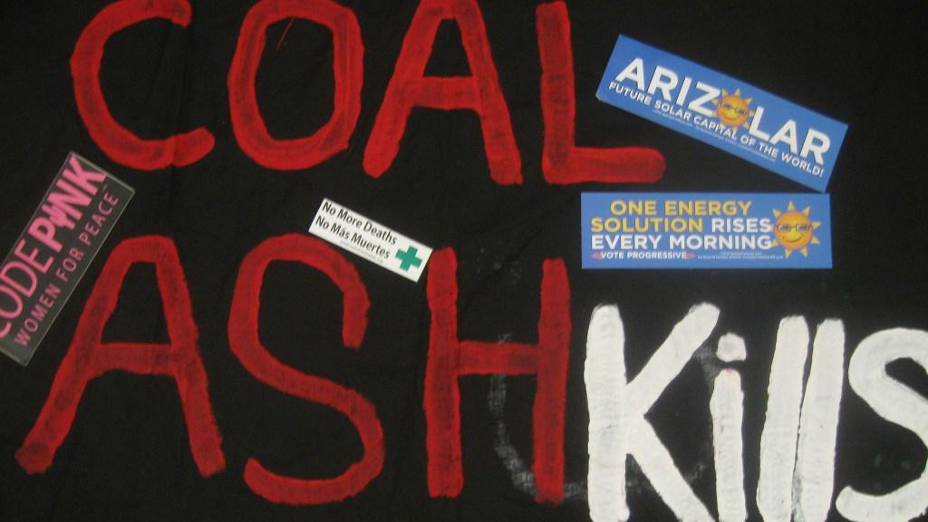 """""""coal ash kills"""" graffiti"""