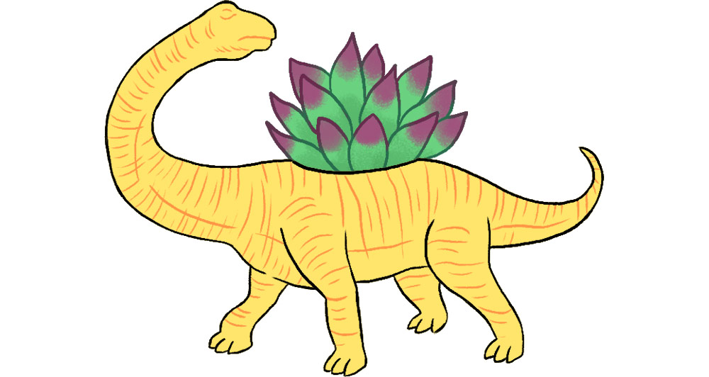 Plastic dinosaur planter