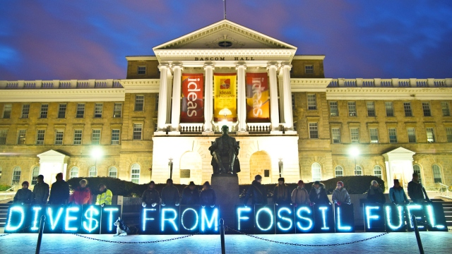 """Divest from fossil fuels"" sign"